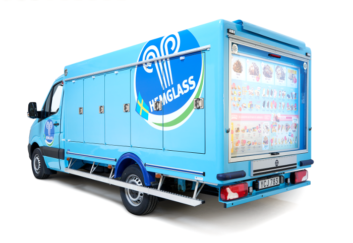 Hemglass ice cream truck on Mercedes-Benz Sprinter chassis