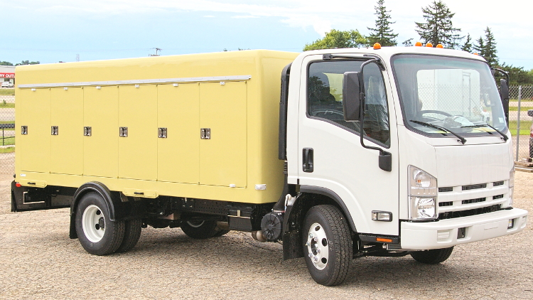 Refrigerated truck body on Isuzu NPR chassis
